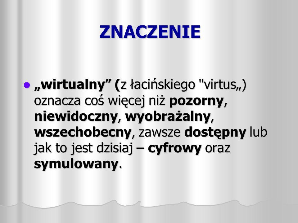 """ZNACZENIE """"wirtualny"""" (z łacińskiego"""