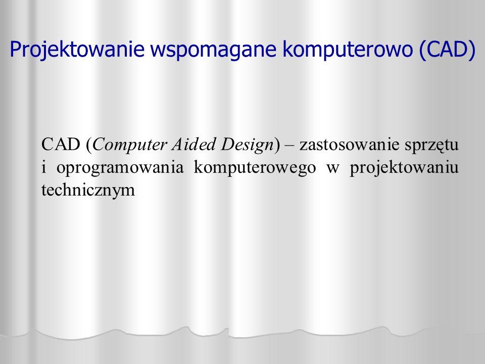 CAD (Computer Aided Design) – zastosowanie sprzętu i oprogramowania komputerowego w projektowaniu technicznym Projektowanie wspomagane komputerowo (CA