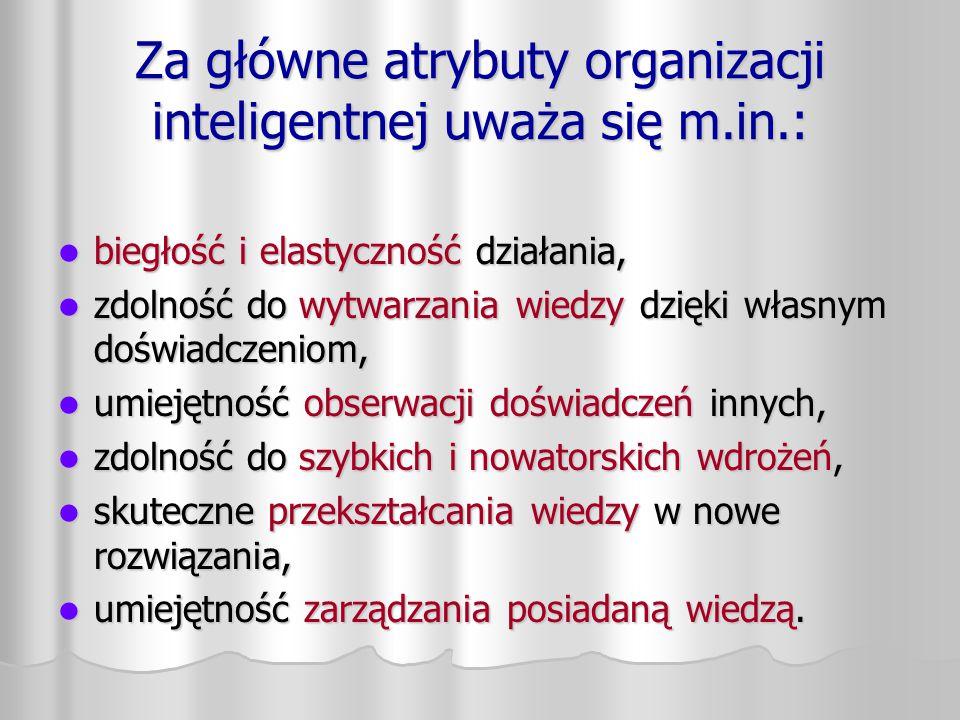 Za główne atrybuty organizacji inteligentnej uważa się m.in.: biegłość i elastyczność działania, biegłość i elastyczność działania, zdolność do wytwar