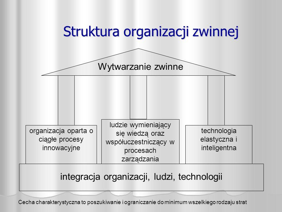 Struktura organizacji zwinnej organizacja oparta o ciągłe procesy innowacyjne ludzie wymieniający się wiedzą oraz współuczestniczący w procesach zarzą