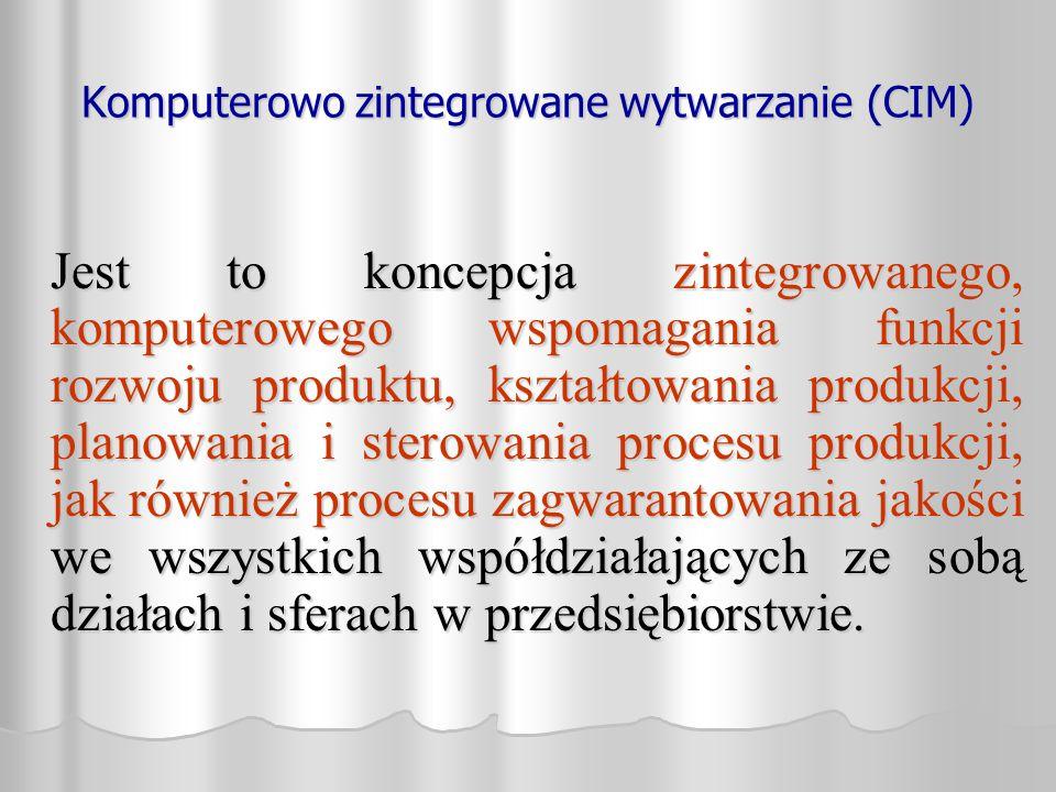 Komputerowo zintegrowane wytwarzanie (CIM) Jest to koncepcja zintegrowanego, komputerowego wspomagania funkcji rozwoju produktu, kształtowania produkc