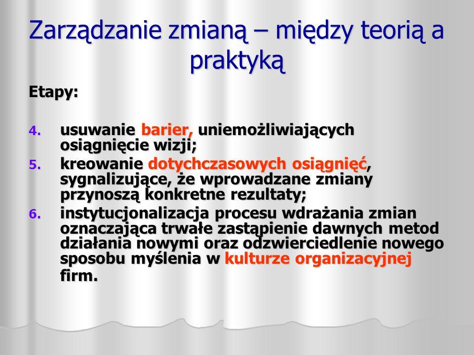Zarządzanie zmianą – między teorią a praktyką Etapy: 4. usuwanie barier, uniemożliwiających osiągnięcie wizji; 5. kreowanie dotychczasowych osiągnięć,