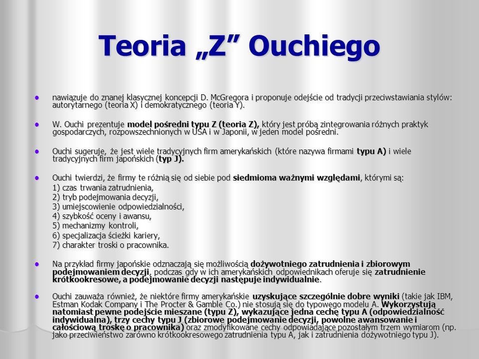 """Teoria """"Z"""" Ouchiego nawiązuje do znanej klasycznej koncepcji D. McGregora i proponuje odejście od tradycji przeciwstawiania stylów: autorytarnego (teo"""