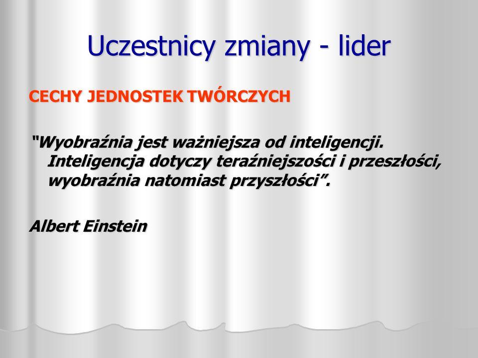 """Uczestnicy zmiany - lider CECHY JEDNOSTEK TWÓRCZYCH """"Wyobraźnia jest ważniejsza od inteligencji. Inteligencja dotyczy teraźniejszości i przeszłości, w"""