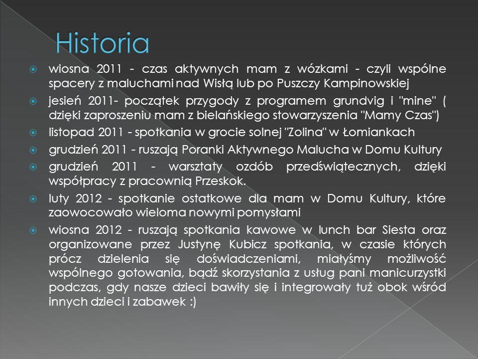  maj 2012 - promocja Klubu Mam (stoisko, ulotki, rozmowy z napotkanymi mamami) podczas Rodzinnego Festynu Parafialnego  maj/ czerwiec 2012 - czas wspólnych wypraw rowerowych z dziećmi w fotelikach  czerwiec 2012 - wspólne odwiedzenie wystawy góralskiego malarstwa na szkle oraz fotografii zjawiskowych widoków Tatr (wyjście z dziećmi)  lipiec 2012 - wakacyjny kurs rysunku dla mam z dziećmi prowadzony przez Justynę Kubicz
