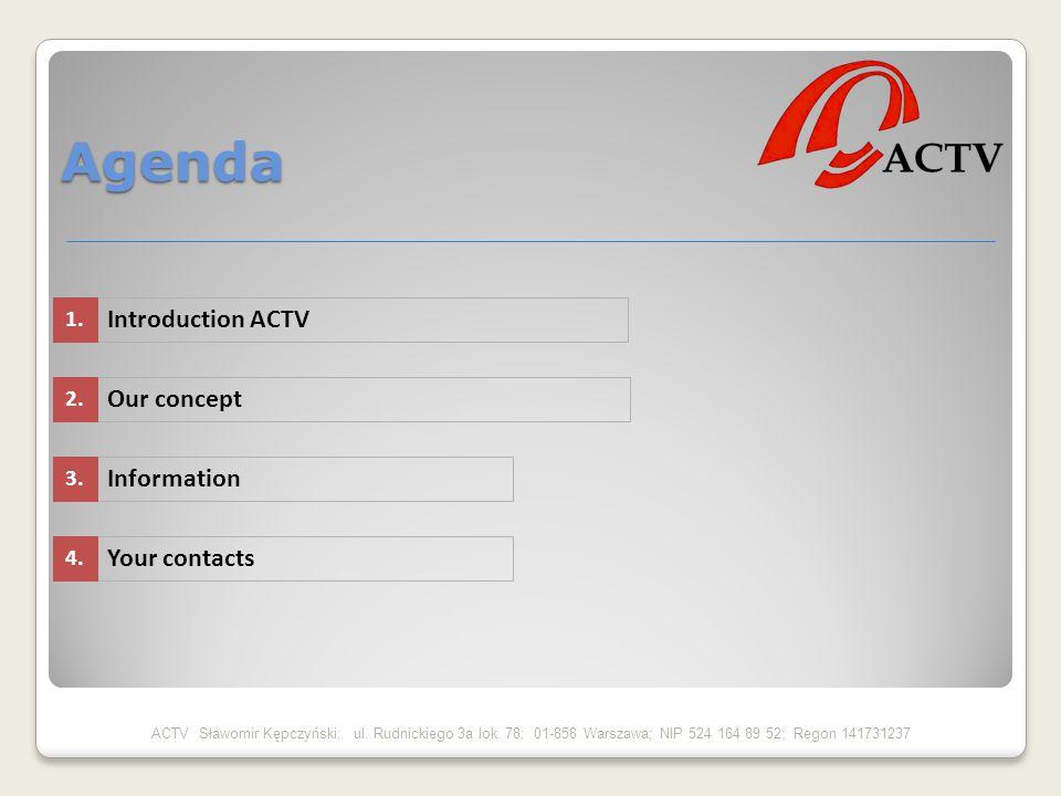 Agenda ACTV Sławomir Kępczyński; ul. Rudnickiego 3a lok. 78; 01-858 Warszawa; NIP 524 164 89 52; Regon 141731237 Introduction ACTV Our concept Informa