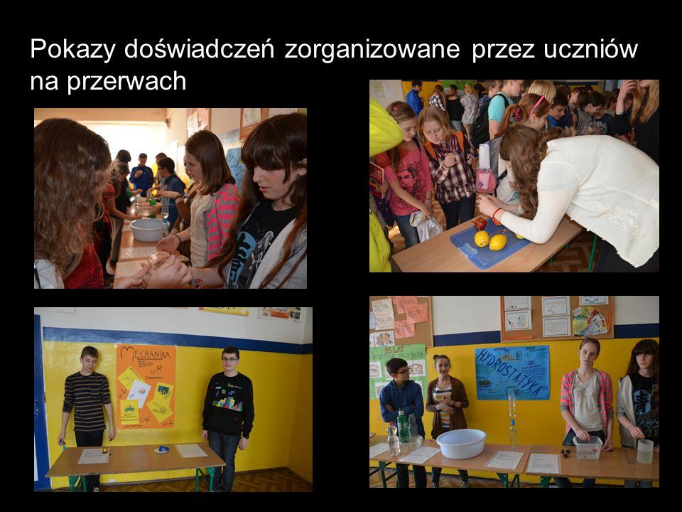 Pokazy doświadczeń zorganizowane przez uczniów na przerwach