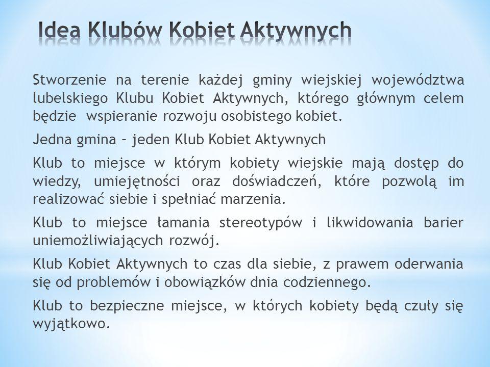 Stworzenie na terenie każdej gminy wiejskiej województwa lubelskiego Klubu Kobiet Aktywnych, którego głównym celem będzie wspieranie rozwoju osobistego kobiet.
