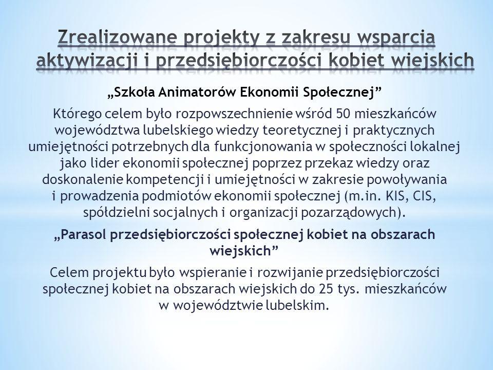 """""""Szkoła Animatorów Ekonomii Społecznej Którego celem było rozpowszechnienie wśród 50 mieszkańców województwa lubelskiego wiedzy teoretycznej i praktycznych umiejętności potrzebnych dla funkcjonowania w społeczności lokalnej jako lider ekonomii społecznej poprzez przekaz wiedzy oraz doskonalenie kompetencji i umiejętności w zakresie powoływania i prowadzenia podmiotów ekonomii społecznej (m.in."""