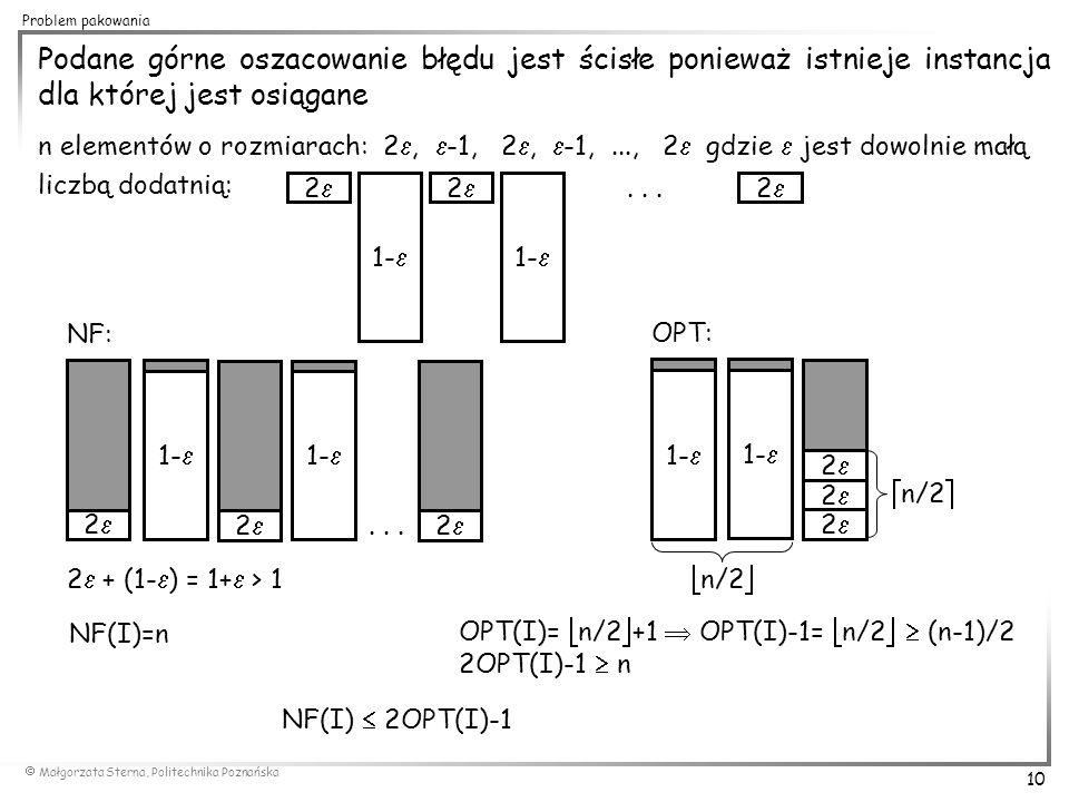  Małgorzata Sterna, Politechnika Poznańska 10 Problem pakowania Podane górne oszacowanie błędu jest ścisłe ponieważ istnieje instancja dla której jes