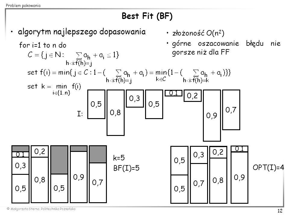  Małgorzata Sterna, Politechnika Poznańska 12 Problem pakowania złożoność O(n 2 ) górne oszacowanie błędu nie gorsze niż dla FF 0,5 0,7 0,2 0,1 0,3 0