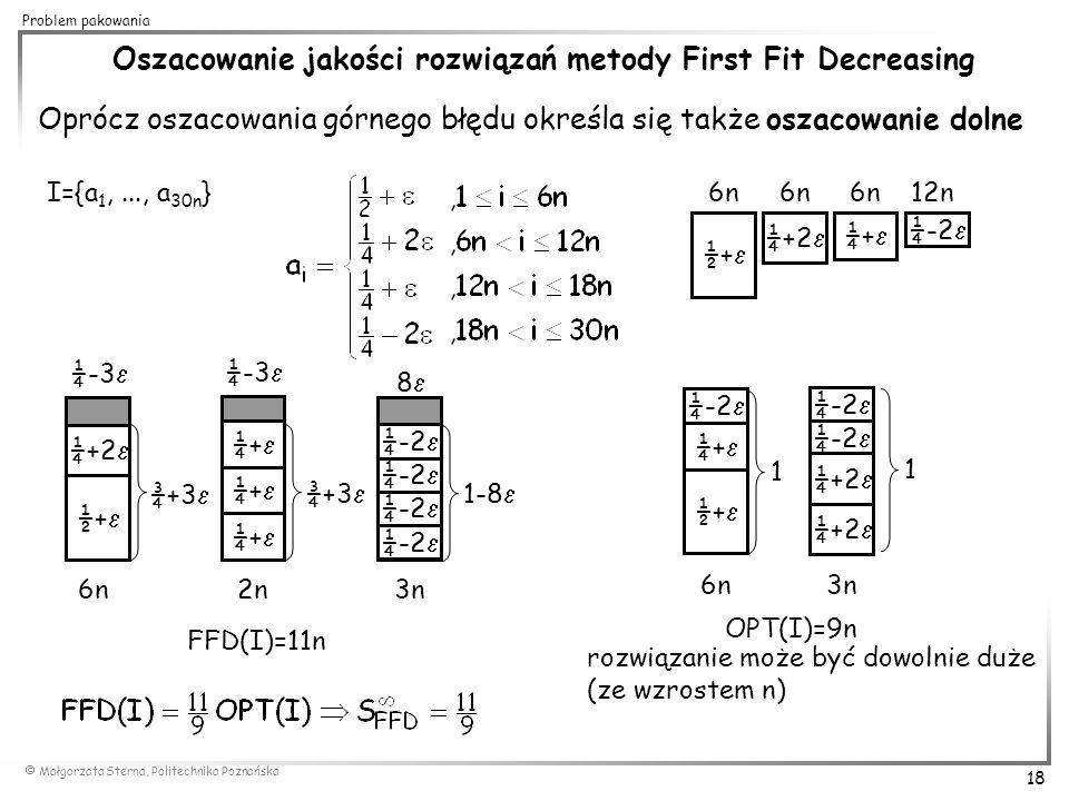  Małgorzata Sterna, Politechnika Poznańska 18 Problem pakowania Oszacowanie jakości rozwiązań metody First Fit Decreasing Oprócz oszacowania górnego