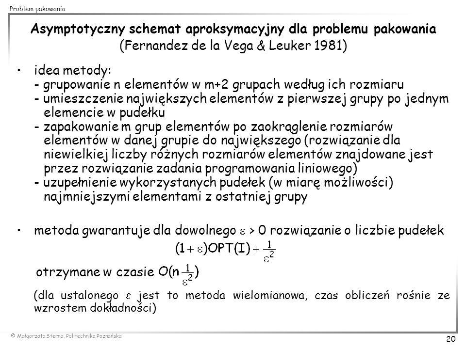 Małgorzata Sterna, Politechnika Poznańska 20 Problem pakowania Asymptotyczny schemat aproksymacyjny dla problemu pakowania (Fernandez de la Vega & L