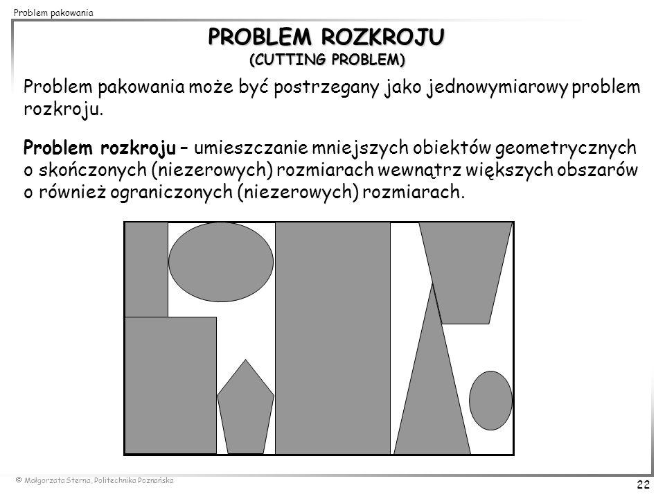  Małgorzata Sterna, Politechnika Poznańska 22 Problem pakowania PROBLEM ROZKROJU (CUTTING PROBLEM) Problem pakowania może być postrzegany jako jednow
