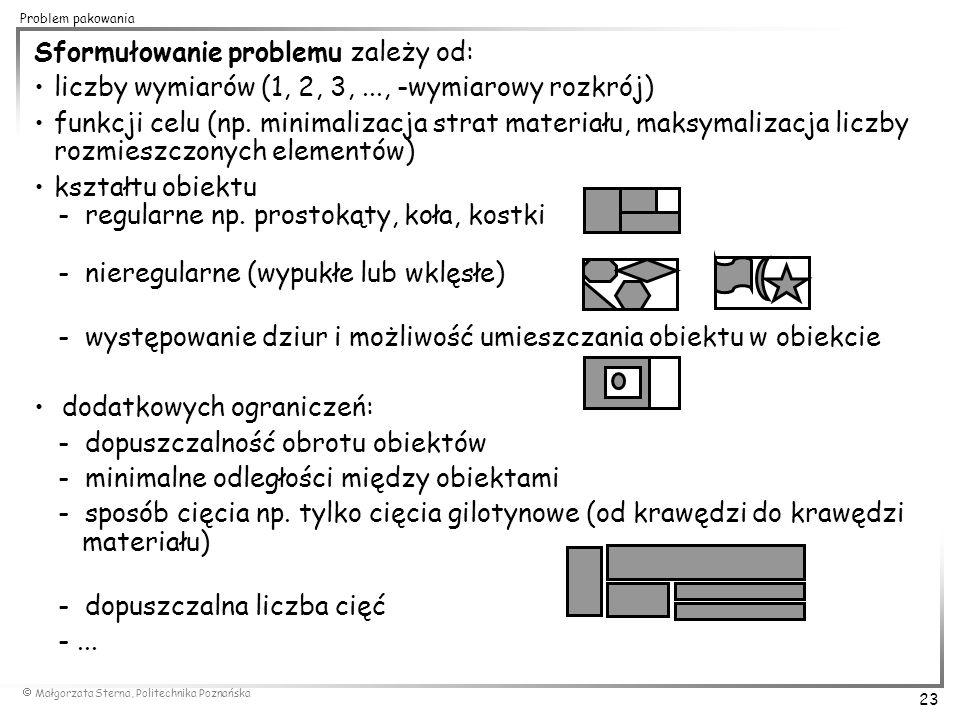  Małgorzata Sterna, Politechnika Poznańska 23 Problem pakowania Sformułowanie problemu zależy od: liczby wymiarów (1, 2, 3,..., -wymiarowy rozkrój) f