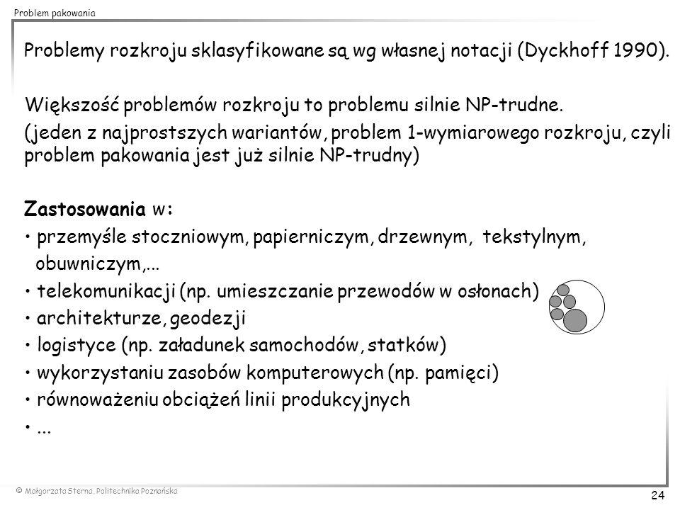  Małgorzata Sterna, Politechnika Poznańska 24 Problem pakowania Problemy rozkroju sklasyfikowane są wg własnej notacji (Dyckhoff 1990). Większość pro