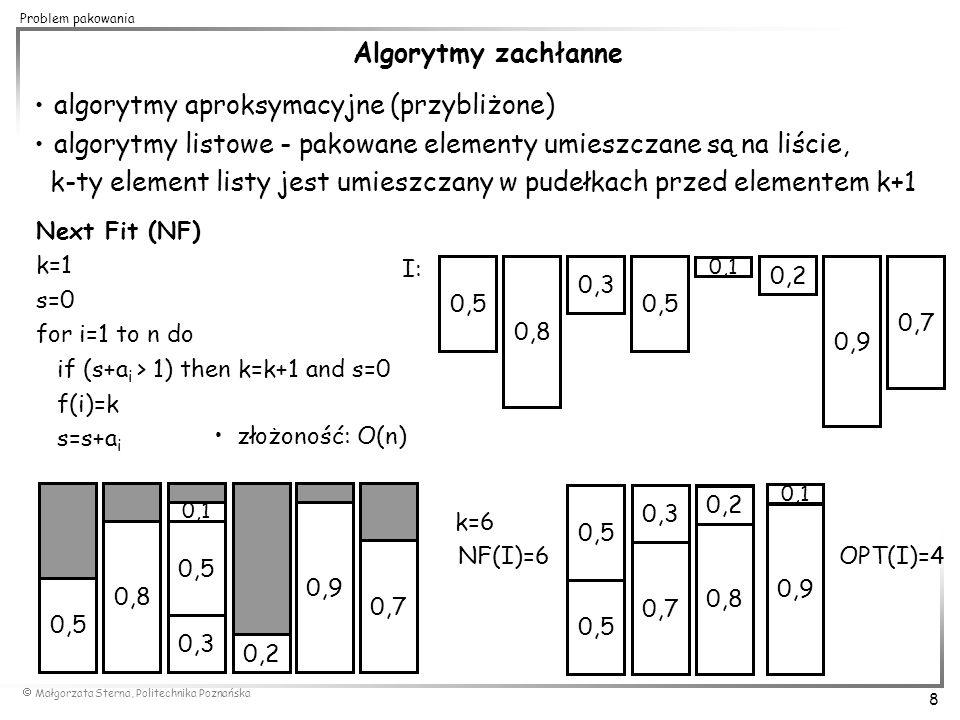  Małgorzata Sterna, Politechnika Poznańska 19 Problem pakowania ASYMPTOTYCZNE APROKSYMACYJNE SCHEMATY OBLICZEŃ Asymptotycznym aproksymacyjnym schematem obliczeń (asymptotic approximation scheme) dla problemu optymalizacyjnego  nazywamy parę algorytmów A i A', takich że: - A' jest algorytmem wielomianowym, który dla zadanej dokładności  > 0 oblicza liczbę c  - A jest algorytmem, który dla zadanej instancji z dziedziny problemu I  D  oraz  > 0 znajduje rozwiązanie, takie że Algorytm A jest wielomianowym asymptotycznym aproksymacyjnym schematem obliczeń (polynomial-time asymptotic approximation scheme) jeśli dla każdego ustalonego  > 0, A jest algorytmem wielomianowym.