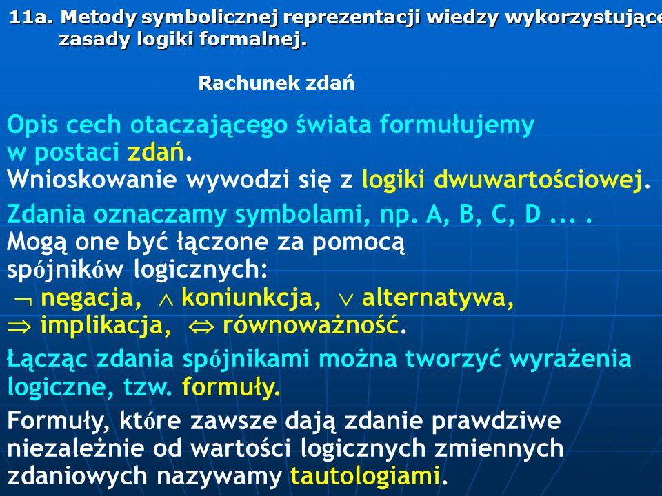 11a. Metody symbolicznej reprezentacji wiedzy wykorzystujące zasady logiki formalnej. R 11a. Metody symbolicznej reprezentacji wiedzy wykorzystujące z