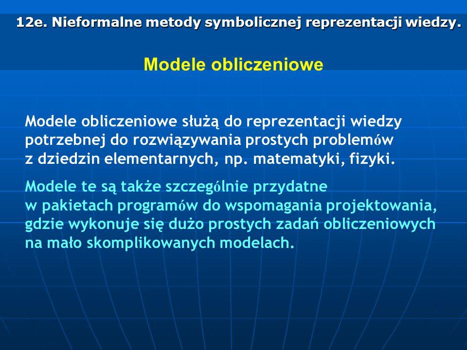 12e. Nieformalne metody symbolicznej reprezentacji wiedzy. 12e. Nieformalne metody symbolicznej reprezentacji wiedzy. Modele obliczeniowe Modele oblic