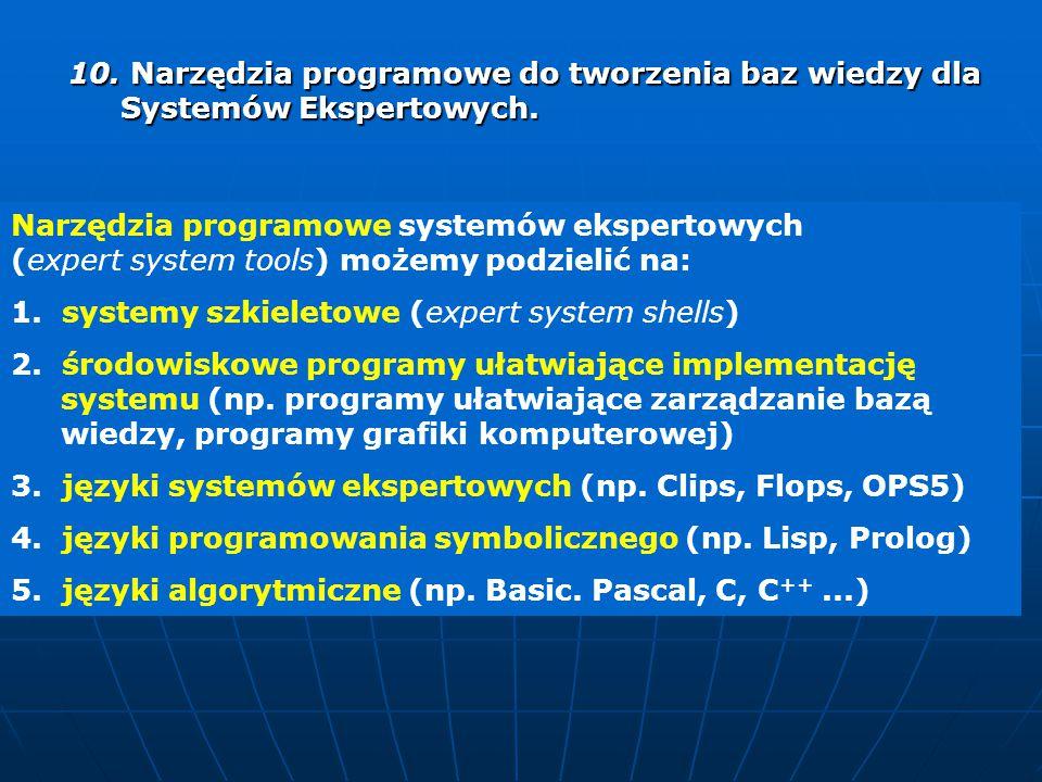 10. Narzędzia programowe do tworzenia baz wiedzy dla Systemów Ekspertowych. 10. Narzędzia programowe do tworzenia baz wiedzy dla Systemów Ekspertowych