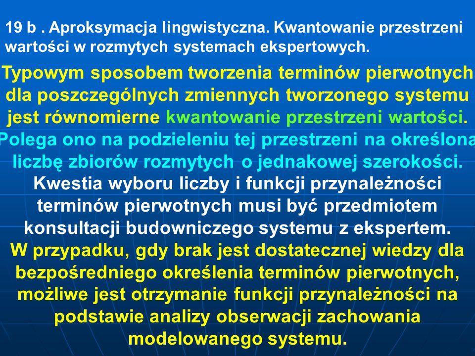 19 b. Aproksymacja lingwistyczna. Kwantowanie przestrzeni wartości w rozmytych systemach ekspertowych. Typowym sposobem tworzenia terminów pierwotnych