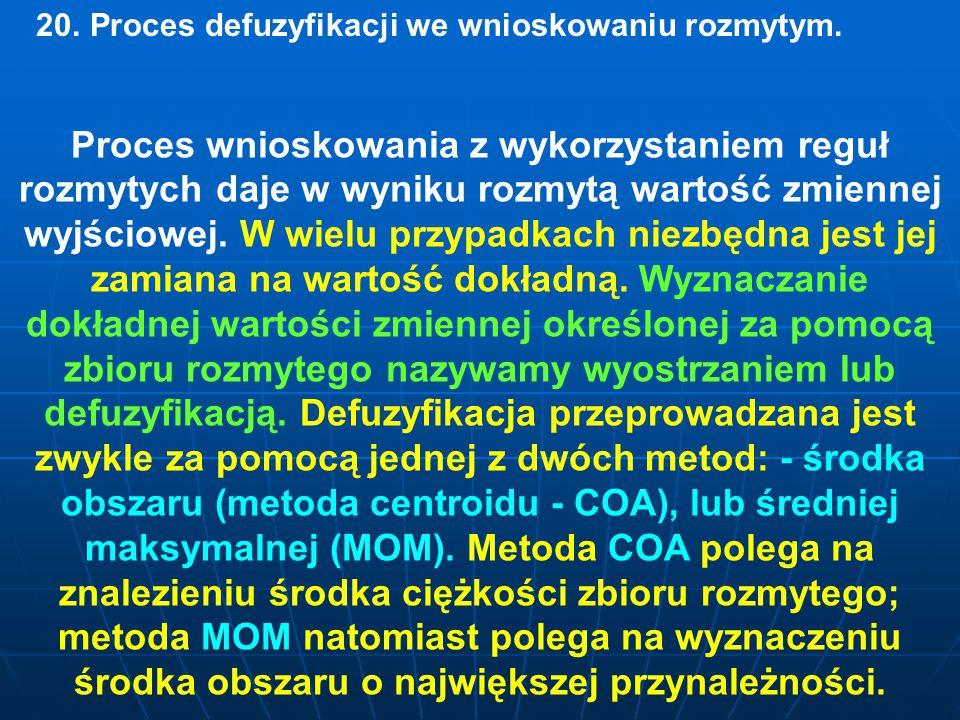 20.Proces defuzyfikacji we wnioskowaniu rozmytym.