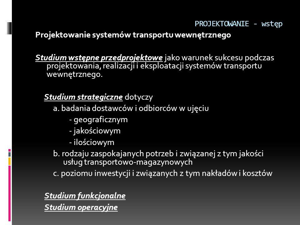 PROJEKTOWANIE - wstęp Projektowanie systemów transportu wewnętrznego Studium wstępne przedprojektowe jako warunek sukcesu podczas projektowania, reali