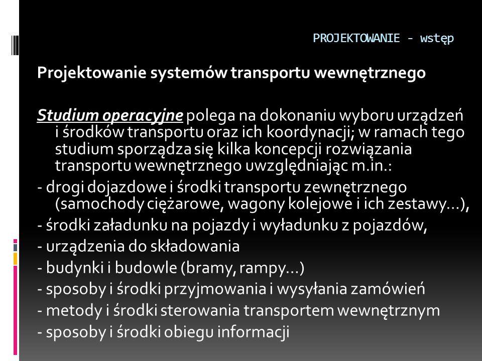 PROJEKTOWANIE - wstęp Projektowanie systemów transportu wewnętrznego Studium operacyjne polega na dokonaniu wyboru urządzeń i środków transportu oraz