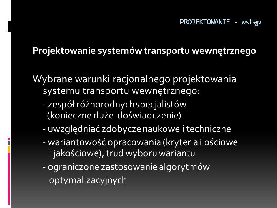 PROJEKTOWANIE - wstęp Projektowanie systemów transportu wewnętrznego Wybrane warunki racjonalnego projektowania systemu transportu wewnętrznego: - zes