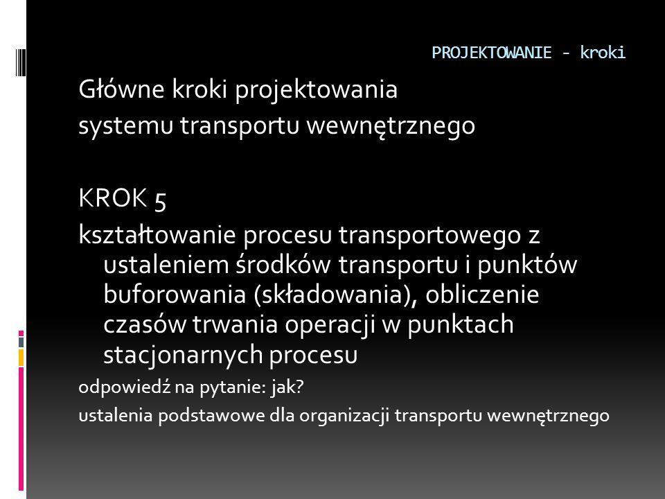PROJEKTOWANIE - kroki Główne kroki projektowania systemu transportu wewnętrznego KROK 5 kształtowanie procesu transportowego z ustaleniem środków tran