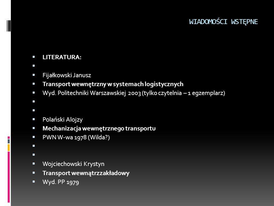 WIADOMOŚCI WSTĘPNE  LITERATURA:   Fijałkowski Janusz  Transport wewnętrzny w systemach logistycznych  Wyd. Politechniki Warszawskiej 2003 (tylko