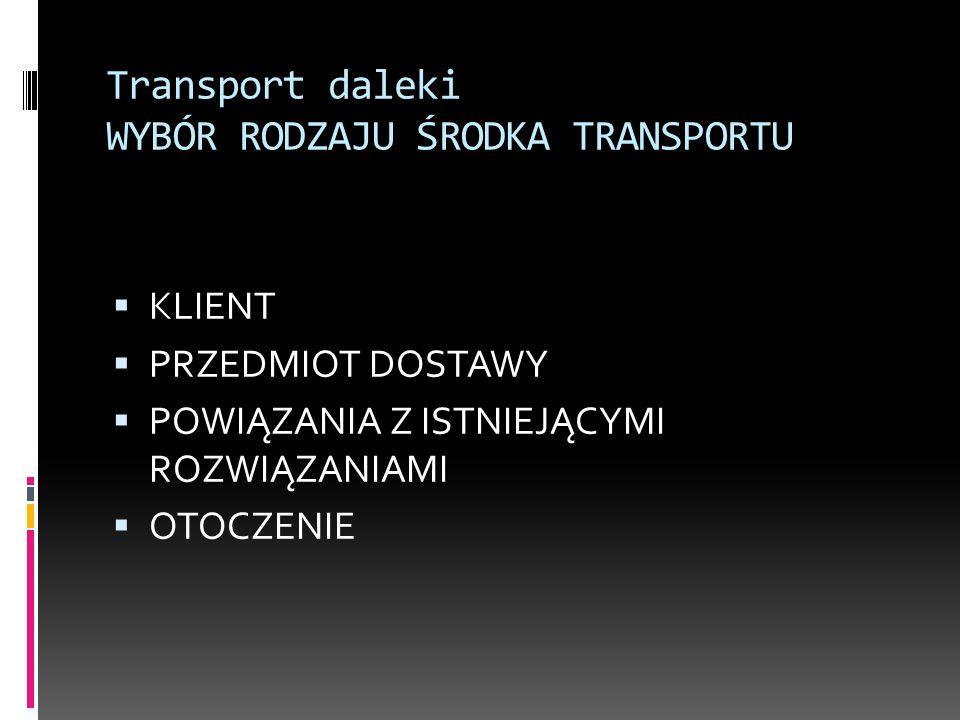 Transport daleki WYBÓR RODZAJU ŚRODKA TRANSPORTU  KLIENT  PRZEDMIOT DOSTAWY  POWIĄZANIA Z ISTNIEJĄCYMI ROZWIĄZANIAMI  OTOCZENIE
