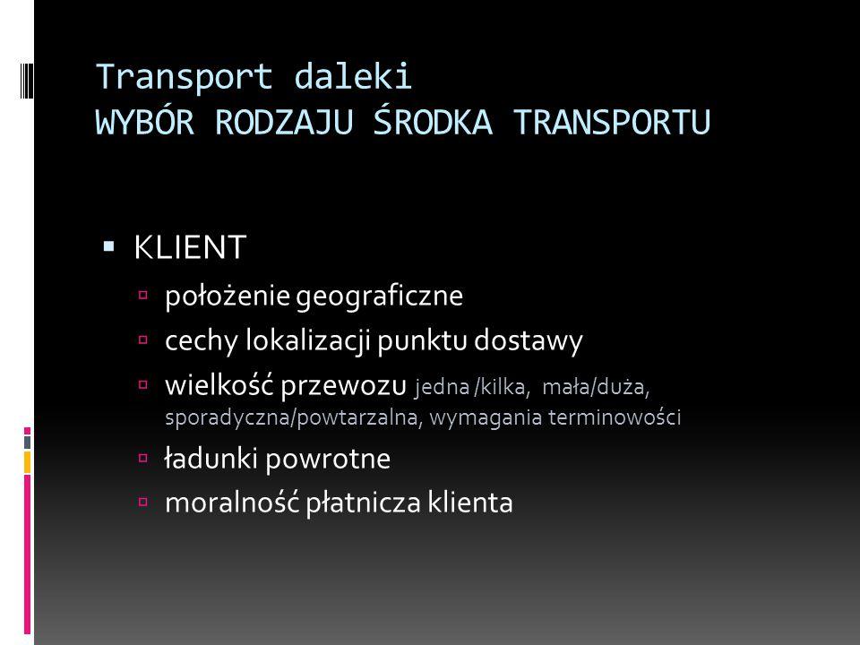 Transport daleki WYBÓR RODZAJU ŚRODKA TRANSPORTU  KLIENT  położenie geograficzne  cechy lokalizacji punktu dostawy  wielkość przewozu jedna /kilka