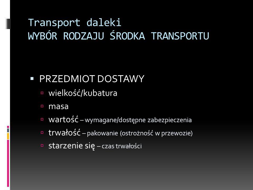 Transport daleki WYBÓR RODZAJU ŚRODKA TRANSPORTU  PRZEDMIOT DOSTAWY  wielkość/kubatura  masa  wartość – wymagane/dostępne zabezpieczenia  trwałoś