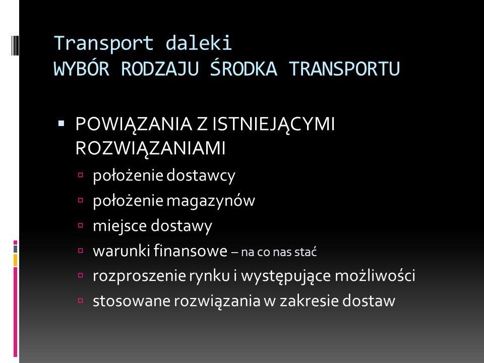 Transport daleki WYBÓR RODZAJU ŚRODKA TRANSPORTU  POWIĄZANIA Z ISTNIEJĄCYMI ROZWIĄZANIAMI  położenie dostawcy  położenie magazynów  miejsce dostaw