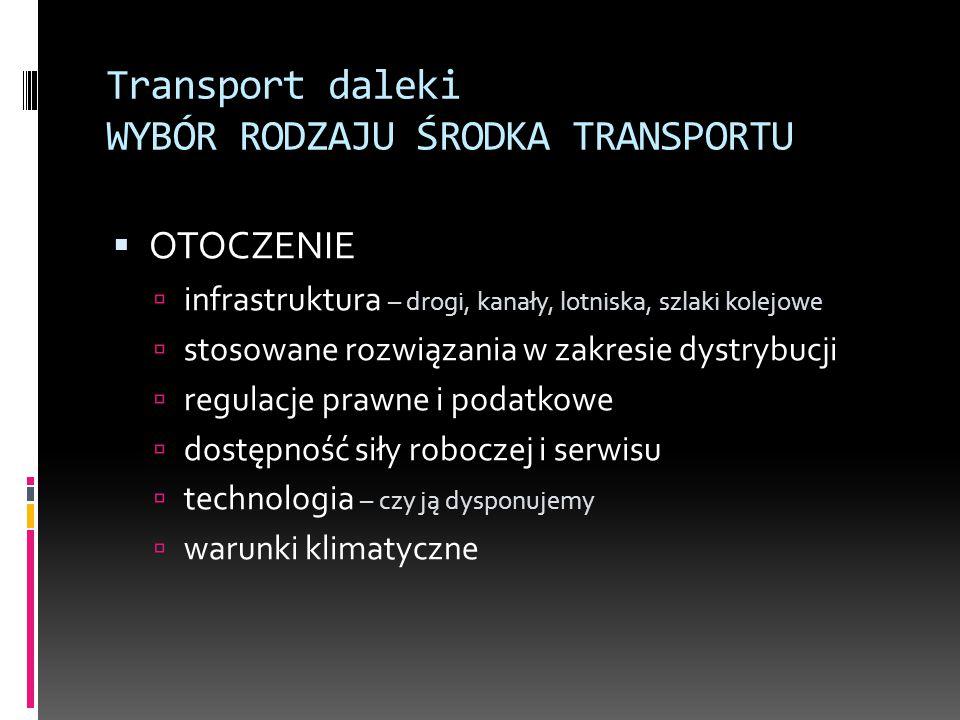 Transport daleki WYBÓR RODZAJU ŚRODKA TRANSPORTU  OTOCZENIE  infrastruktura – drogi, kanały, lotniska, szlaki kolejowe  stosowane rozwiązania w zak