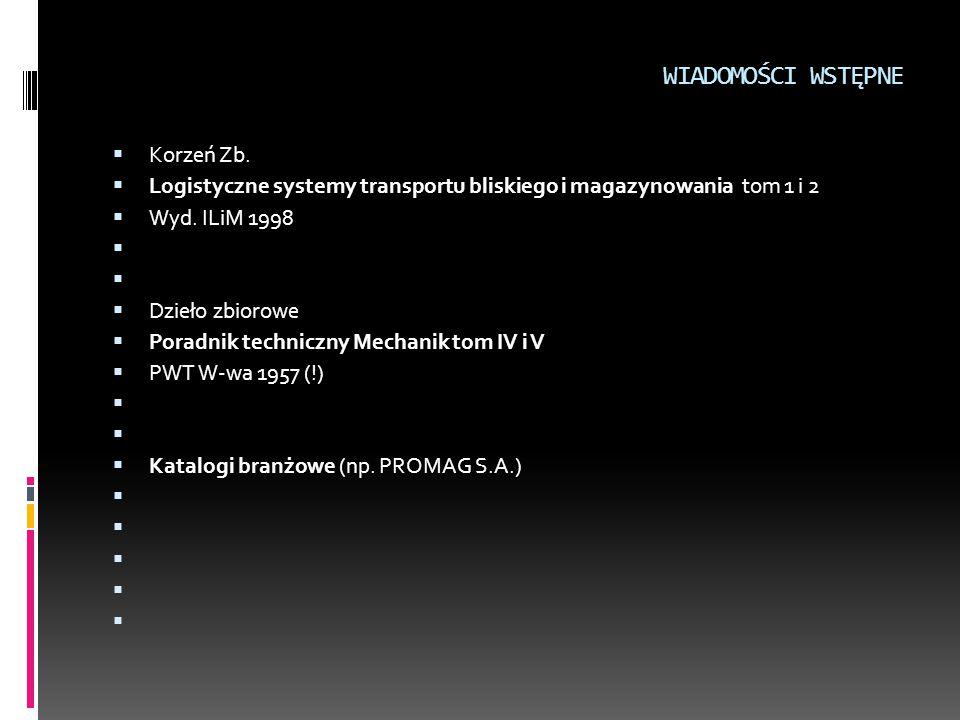 WIADOMOŚCI WSTĘPNE  Korzeń Zb.  Logistyczne systemy transportu bliskiego i magazynowania tom 1 i 2  Wyd. ILiM 1998   Dzieło zbiorowe  Poradnik t