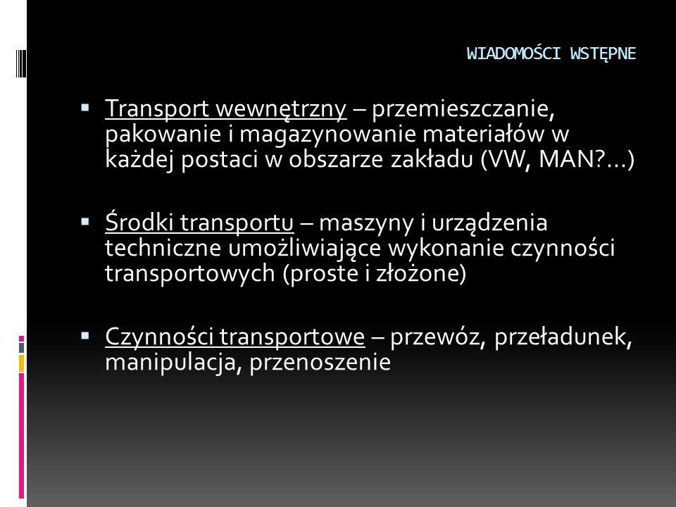 WIADOMOŚCI WSTĘPNE  Ładunek – określona ilość materiału przeznaczona do transportu i/lub magazynowania  Jednostka ładunkowa – ilość ładunku (stałego lub sypkiego) o kształcie nadanym przez opakowanie; ładunek utworzony zazwyczaj z szeregu ładunków mniejszych z zastosowaniem elementów dodatkowych (pojemnik, folia…), traktowany w procesie transportowym jako zwarta całość; cechy jednostek ładunkowych: zabezpieczone przed przypadkowym rozformowaniem, przystosowane do manipulacji i transportu, przystosowane do piętrzenia i składowania, formowane zazwyczaj w oparciu o standardowe opakowania (wymiary)
