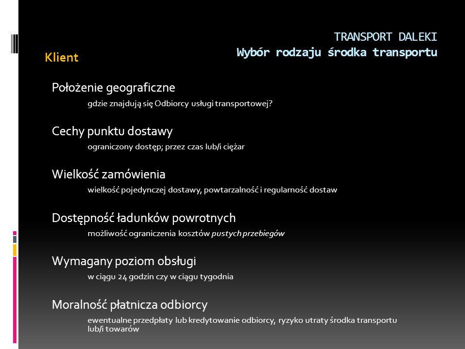 TRANSPORT DALEKI Wybór rodzaju środka transportu Klient Położenie geograficzne gdzie znajdują się Odbiorcy usługi transportowej? Cechy punktu dostawy