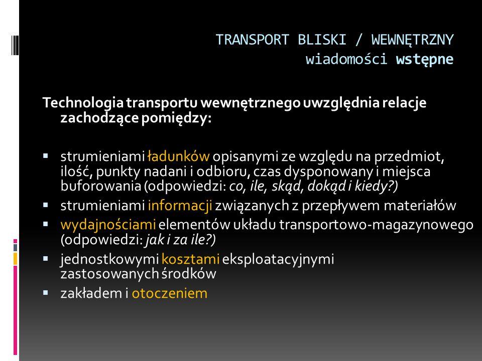 TRANSPORT BLISKI / WEWNĘTRZNY wiadomości wstępne Technologia transportu wewnętrznego uwzględnia relacje zachodzące pomiędzy:  strumieniami ładunków o