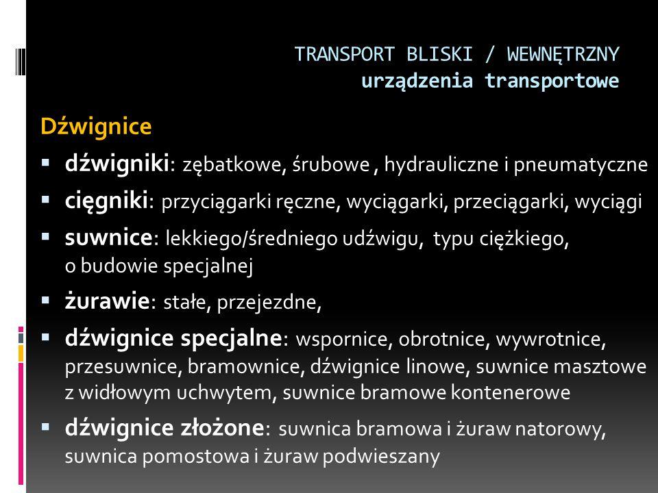 TRANSPORT BLISKI / WEWNĘTRZNY urządzenia transportowe Dźwignice  dźwigniki: zębatkowe, śrubowe, hydrauliczne i pneumatyczne  cięgniki: przyciągarki