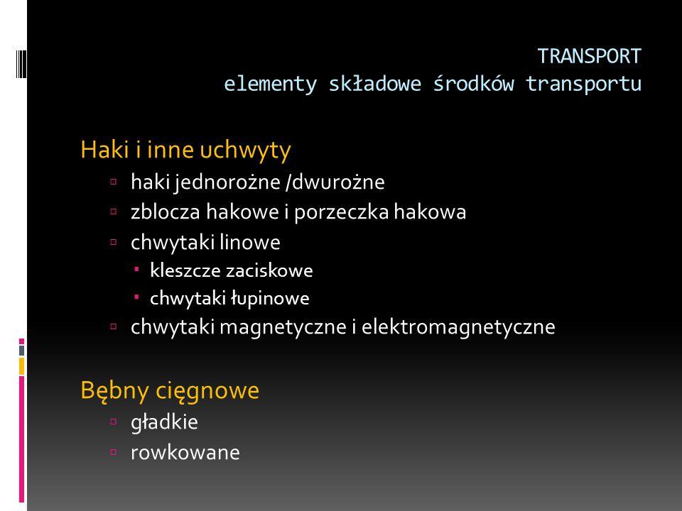 TRANSPORT elementy składowe środków transportu Haki i inne uchwyty  haki jednorożne /dwurożne  zblocza hakowe i porzeczka hakowa  chwytaki linowe 