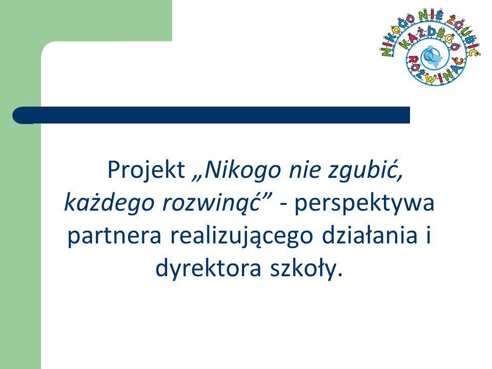 """Projekt """"Nikogo nie zgubić, każdego rozwinąć - perspektywa partnera realizującego działania i dyrektora szkoły."""