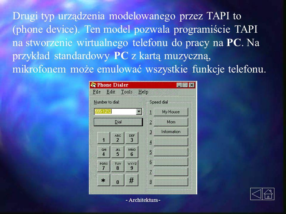 - Architektura - Drugi typ urządzenia modelowanego przez TAPI to (phone device). Ten model pozwala programiście TAPI na stworzenie wirtualnego telefon