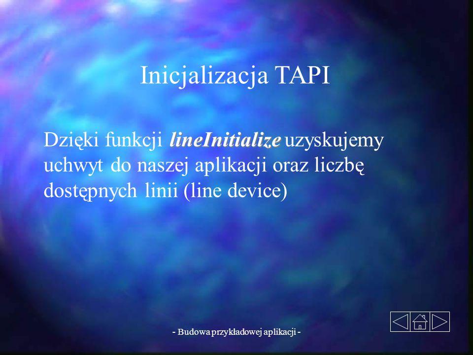 - Budowa przykładowej aplikacji - Inicjalizacja TAPI lineInitialize Dzięki funkcji lineInitialize uzyskujemy uchwyt do naszej aplikacji oraz liczbę do