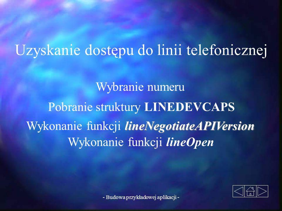 - Budowa przykładowej aplikacji - Uzyskanie dostępu do linii telefonicznej Wybranie numeru Pobranie struktury LINEDEVCAPS lineNegotiateAPIVersion Wyko
