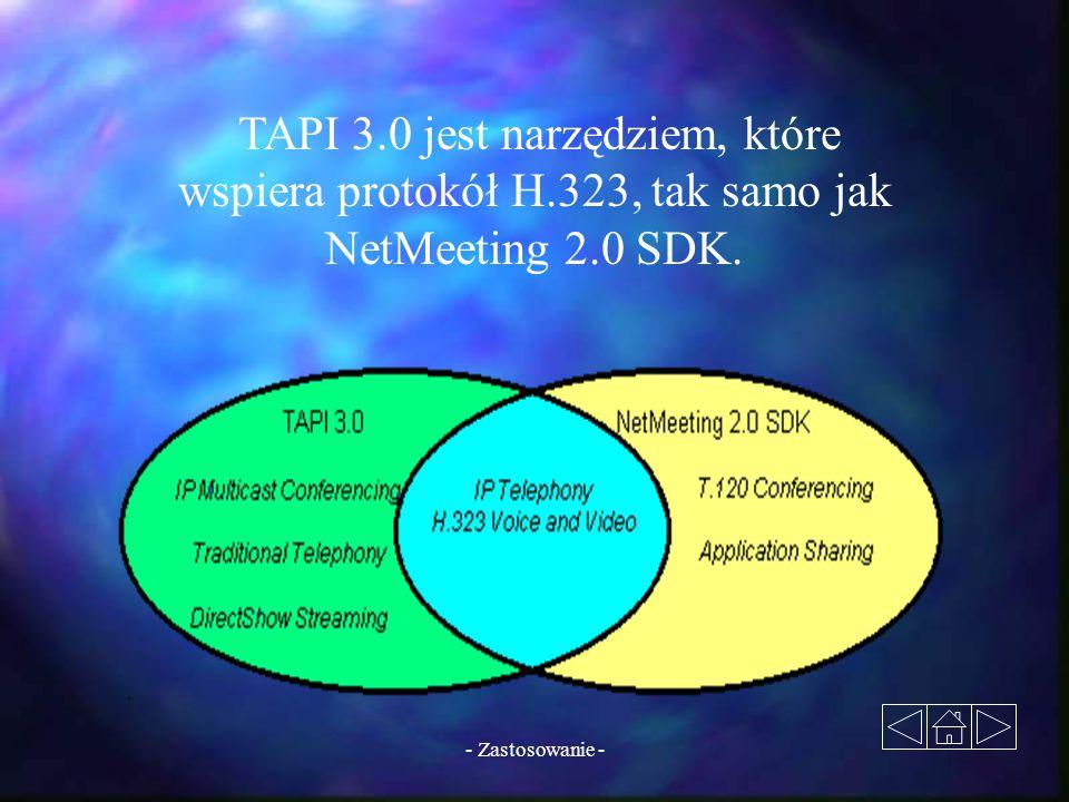 - Zastosowanie - TAPI 3.0 jest narzędziem, które wspiera protokół H.323, tak samo jak NetMeeting 2.0 SDK.