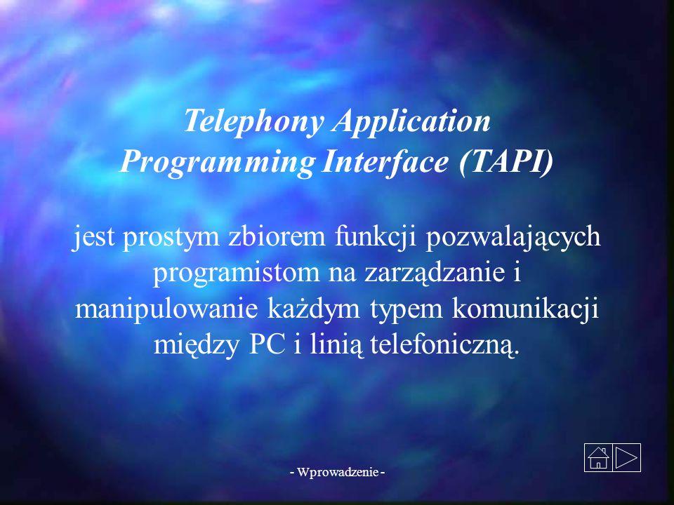 - Wprowadzenie - jest prostym zbiorem funkcji pozwalających programistom na zarządzanie i manipulowanie każdym typem komunikacji między PC i linią tel