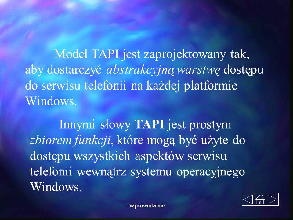 - Wprowadzenie - Model TAPI jest zaprojektowany tak, aby dostarczyć abstrakcyjną warstwę dostępu do serwisu telefonii na każdej platformie Windows. In