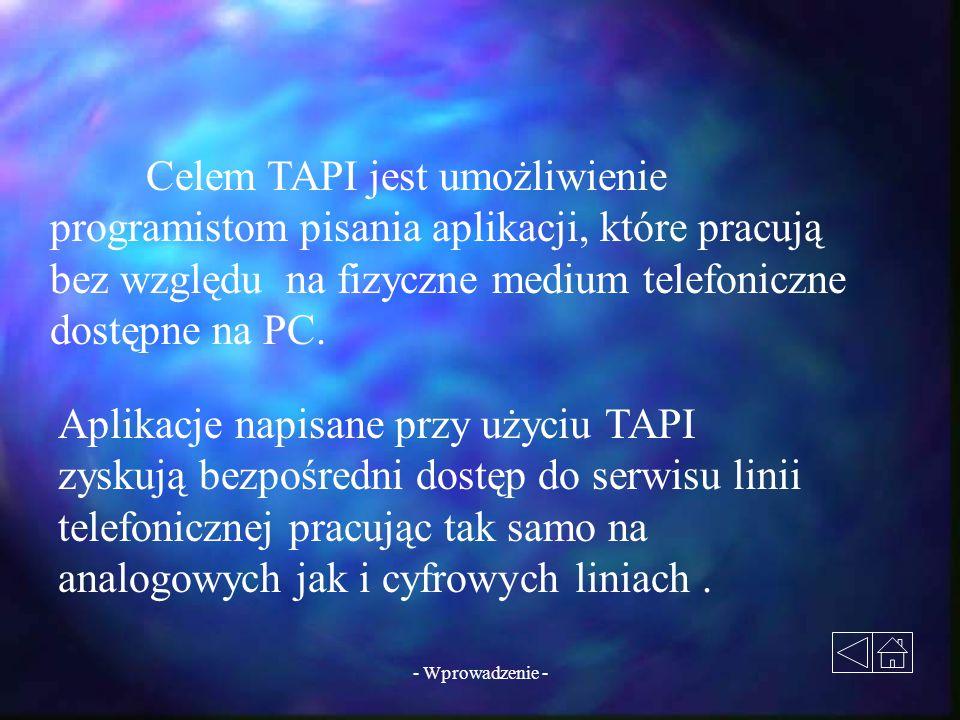 - Wprowadzenie - Celem TAPI jest umożliwienie programistom pisania aplikacji, które pracują bez względu na fizyczne medium telefoniczne dostępne na PC